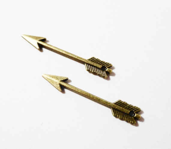 Bronze Arrow Charms 29x5mm Antique Brass Metal 2 Sided Arrow Pendants, Archery Charms, Weapon Charms, Jewelry Making, Craft Supplies, 10pcs