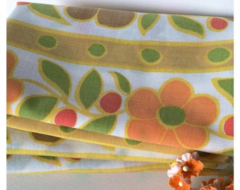 Vintage Sheet Fabric -  Fat Quarter - Retro Orange and Brown Flowers with Green Polka Dots, Stripes - Upcycle