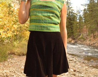 Vintage 60s Green Knit Wool Handmade Guatemalan Textile Tank Top Blouse