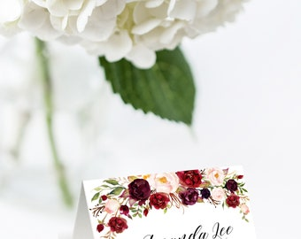 Wedding Place Card Template, Place Card Template, Burgundy Place Card, Name Card, Seating Card, Editable Name Card, Marsala Name Card, W2