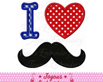 Instant Download I Love Mustache Applique Machine Embroidery Design NO:2338