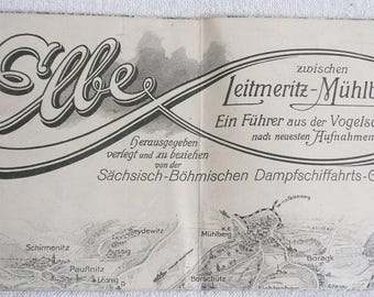 Saxon-Bohemian-steamship-company-map-the river Elbe-around 1925-Steam ship Society-map