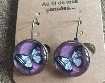 Dangle earrings butterfly and purple