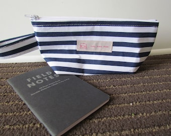 Blue striped wedge bag