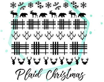 Plaid Christmas Vinyl Nail Stickers