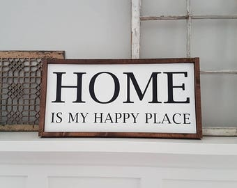 Home is my happy place | Home sign | Wood Sign | Wooden sign | Wooden quote sign | Word art | Rustic Wooden Sign | Rustic sign|Country Decor
