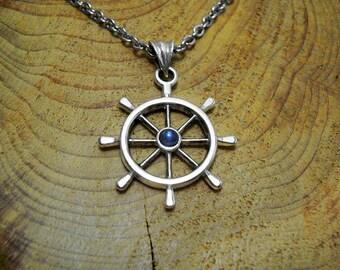 Mens wheel necklace,wheel man necklace,silver wheel pendant,nautical jewelry,nautical pendant,nautical necklace,sautoir argent,collier homme