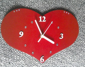 Red Loveheart MDF Clock - Hand-painted