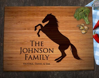 Horse Lovers Engraved Bamboo Cutting Board, Equestrian Gift Anniversary  Christmas Family Housewarming, Personalized Name