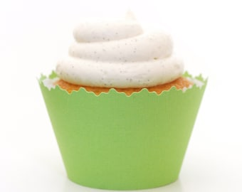 Kiwi Green Solid Color Cupcake Wrappers - Set of 12 - SW003 Dessert Favors, Food Decorations, Cupcakes, Elegant Party Supplies