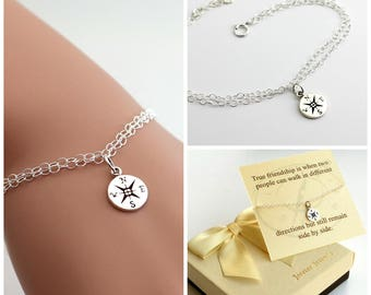 Compass bracelet, best friends, sister bracelet. Journey bracelet. Sterling silver compass bracelet, gift for her
