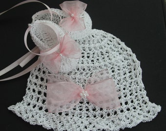 Crochet Newborn Baby Hat and Booties Christening Infant Girl Bonnet Crib Shoes Knit Baby Beanie and Mary Janes Reborn Doll Cap Booties