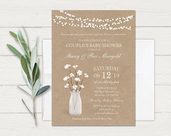 Baby Shower Invitation Template Rustic Kraft Cotton Country Couples Baby Shower Invite Baby Sprinkle Gender Neutral Printed or Home Print