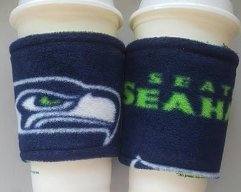 A [SET OF 2] NFL Seattle Seahawks Fleece Fabric Coffee Cozy / Coffee Sleeve - 12,16,20 Ounce Coffee Cup