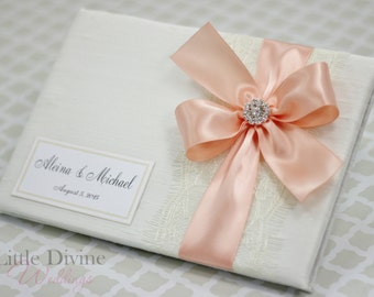 Wedding Guest Book Ivory  Peach Custom Made in your Colors