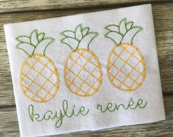 Pineapple Trio Summer Scribble Stitch Applique Embroidery Design 5x7 6x10 8x8 8x12