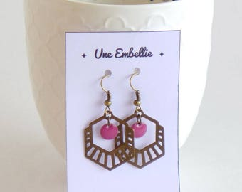Earrings brass Bronze, Art Deco hexagonal shape and small dark pink sequins. mothers day gift women jewelry