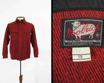 Vintage 50s Woolrich Jac Shirt Mackinaw Red Wool Hunting Cruiser Made in USA - Medium 15