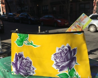 "Yellow and Purple Rose Oil Cloth Pencil Case, 10"" Zippered Floral Cosmetic Bag, Make Up Pouch"