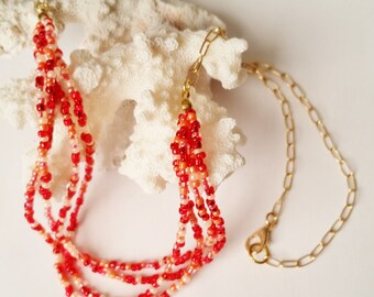 Simple Seed Bead Necklace, Red Orange and Peach, Multi Strand Jewelry