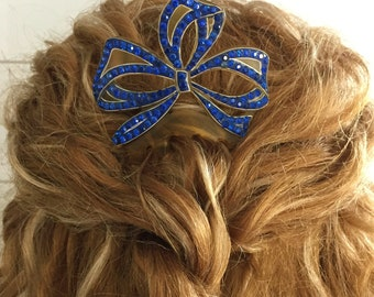 Vintage Celluloid Hair Comb With Sparkling Blue Rhinestones ... Bridal Accessories