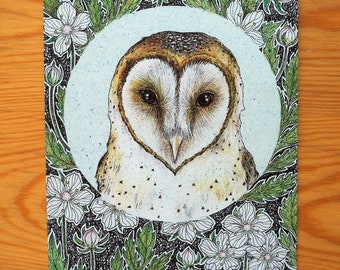 Barn owl - Art postcard