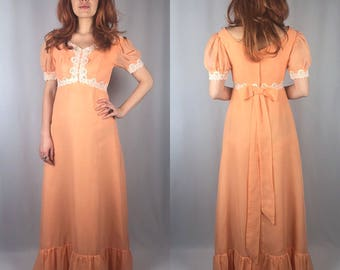 Vintage 1970's Peach Maxi Dress Small