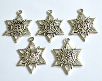 5 x Star & Sun Charms  ~ Antique Silver ~  Lead and Nickel Free