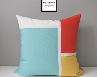 Decorative Outdoor Pillow Cover, Modern Pillow Case, Aqua Blue Yellow & White Pillow Cover, Orange Melon Sunbrella Cushion Cover, Mazizmuse