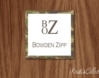 Camo Calling Cards Gift Tags Stickers, Personalized Boys Kids Monogrammed Gift Inserts Enclosure Cards, A Gift From Cards, Stacked Monogram