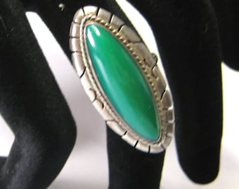 Green Chalcedony Ring Vintage Mexico Sterling