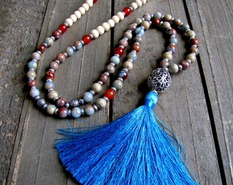 African Opal Mala Beads Meditation Mala Necklace Yoga Mala Beads Yoga Necklace Yoga Gift Yoga Jewelry 108 Bead Mala Prayer Beads Buddhist