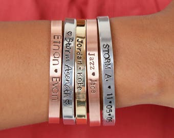 Personalized Mom Custom Name Cuffs | Mother's Day Custom Cuffs | Personalized Kids Names Cuff | Engraved Cuffs Expressions Bracelets