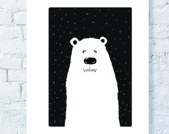 Black and white polar bear