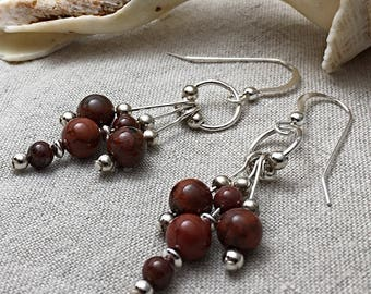 Gemstone cluster earrings, red gemstone earrings, poppy jasper jewelry, gift for mom from daughter, sterling silver, artisan jewelry
