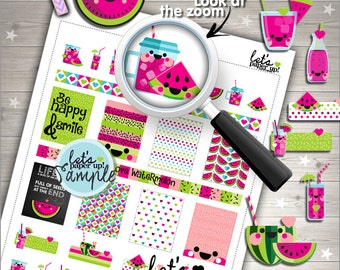 60%OFF - Watermelon Stickers, Printable Planner Stickers, Weekly Stickers, Summer Stickers, Planner Accessories, Life Quotes,
