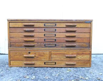 Flat file cabinet etsy vintage mayline wooden flat file card catalog file malvernweather Images
