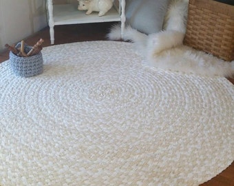 """46"""" Natural and white braided rug shabby chic style"""