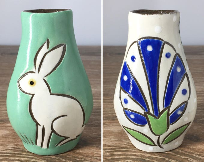 Featured listing image: Reversible Bud Vase with White Rabbit
