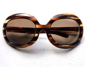 """Giant 8"""" French Round Sunglasses Eyeglasses 60s 70s Vintage Thick Frames Dark Warm Tortoise France Boho Gypsy Eyeglass Eyewear Glasses Huge"""