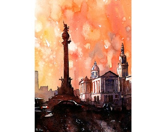 Barcelona Spain-watercolor painting of Columbus Monument statue in La Ramblas, Art Barcelona watercolor, Spain painting Barcelona art print