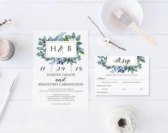 Watercolor Flowers Wedding Invitation