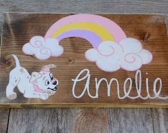 Rainbow and Puppy, Personalized Painted Reclaimed Wood Sign, Girl/Boy Rainbow with Puppy, Gift for Girl/Boy Nursery, Playroom, Kids Room Art