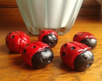 Ladybug Ornaments, Five Ladybird figurines, Resin Figures, Miniature Garden Sculpture, Table Decoration, Bug Figurines, Ladybug Lover Gift