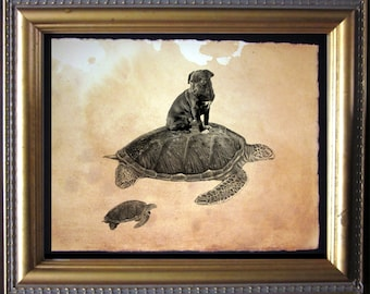 Black Pug Riding Sea Turtle- Vintage Collage Art Print on Tea Stained Paper -  dog art - dog gifts - mother's day gift