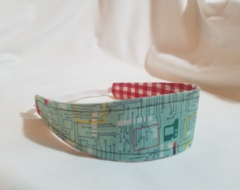 Computer Circuit Board - Red/White Checkered Reversible Cloth Headband