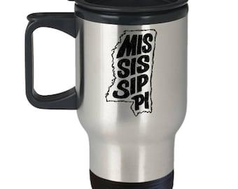 Mississippi Travel Mug, Thermal Coffee Mug, Mississippi, State of Mississippi
