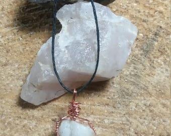 Wire Wrapped White Quartz Pendant Copper Wire Crystal Necklace Quartz Necklace
