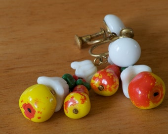 Vintage 1950's Glass Bead Screw Back Fruit Earrings