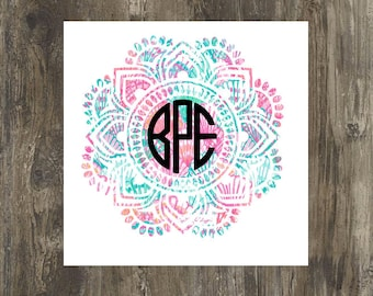 Lilly pulitzer Mandala monogram decal for cars, yetis,laptops, sic cups, phones, and so much more!!